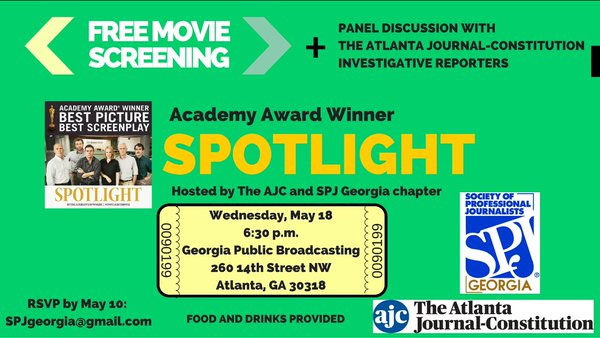 Spotlight movie event SPJGA