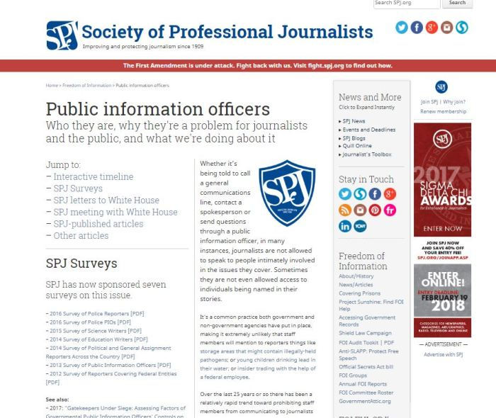Public information officers SPJ page FOI