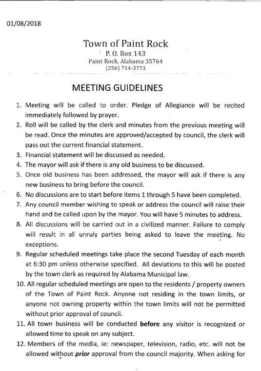 Paint Rock copy of town meeting rules
